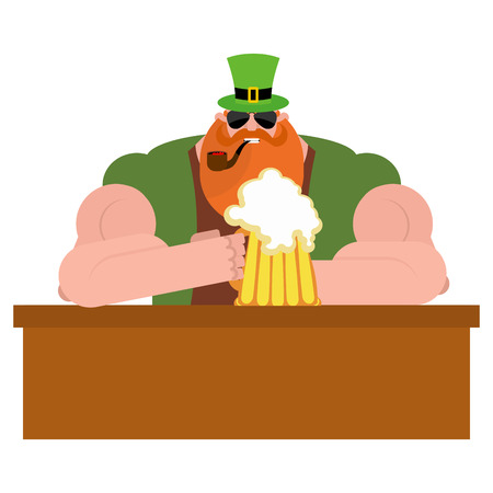 LLeprechaun drinking beer. Big and serious leprechaun at  bar holds pint of ALE. Powerful magical midget with  big Red Beard. Green frock coat and hat cylinder. Illustration for  Irish holiday St. Patricks day.. Big and serious leprechaun at  bar holds p