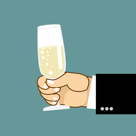said: Mens hand and glass of champagne. Businessman holding glass of white wine. Said toast.