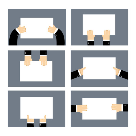 billboard blank: Set hands and white sheet Billboard. Blank paper in  hands of businessman. Man holds an empty plate. Business hands set of elements for your design