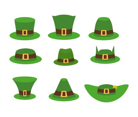 derby hat: Green Hat leprechaun. Leprechaun hat, Green Hat isolated on white. Leprechaun Hat. Set of headgear for holiday in Ireland. Traditional holiday March 17 Illustration