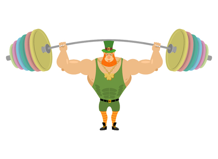 head shoulders: Leprechaun and barbell sports. Bench press barbell above his head. Exercises for shoulders. Strong, powerful old man with Red Beard. Fairy dwarf. Golden clover at the chain. Character for St. Patricks day in Ireland Illustration