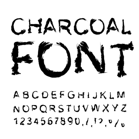 tattered: Charcoal font. Letters from charcoal. Black tattered alphabet. Imitate shapes of letters trace piece of coal. Manual alphabet. Coal texture letter