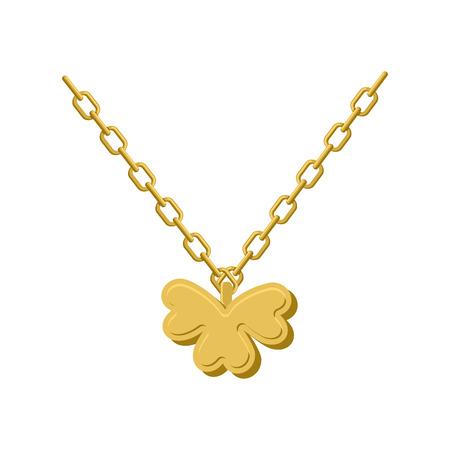 Anhänger von Golden Klee. Goldkette und Anhänger Symbol von St. Patricks Tag. Standard-Bild - 52471186