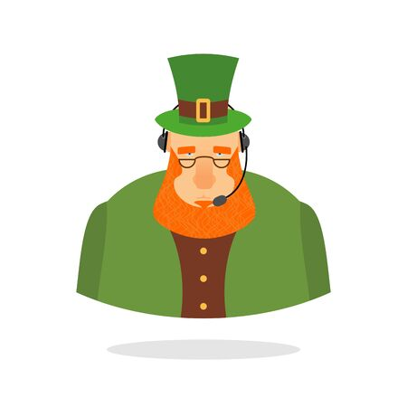 responds: Saint Patrick call center. leprechaun and headset. Leprechaun responds to phone calls. Customer service from back support. St. Patricks day call center