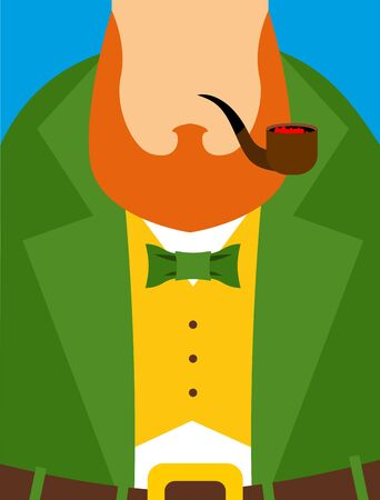 clover face: Leprechaun in yellow vest. Green old frock coat. Pipe and a large Red Beard. Illustration for the Irish holiday St. Patricks day.