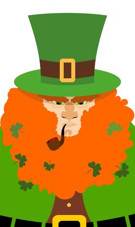 red beard: Leprechaun in Green Hat. Portrait serious leprechaun with big Red Beard. Angry leprechaun with smoking pipe. Illustration for St. Patricks day celebration in Ireland
