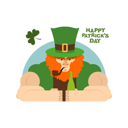 rowdy: Serious leprechaun and bottle of beer. Brutal Leprechaun at  bar. dreaded dwarf drinking green El.  big Red Beard and  Green Hat cylinder. Pipe leprechaun. Character for St. Patricks day national holiday in Ireland Illustration