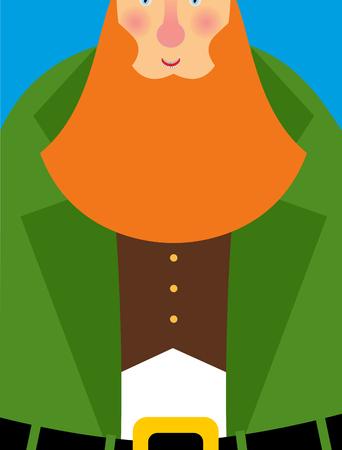 leprachaun: Good Leprechaun in green frock coat. Big Red Beard. The cheerful leprechaun in Brown waistcoat. Illustration for Saint Patricks Day March 17. National holiday in Ireland