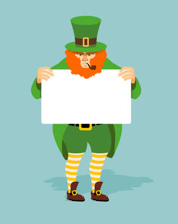 leprechaun hat: Leprechaun and Billboard. Red dwarf and  white sheet of paper. Mythical Irish character in green clothing. Striped yellow socks and old shoes. Leprechaun for St. Patricks Day March 17