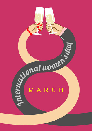 brotherhood: 8 March. Plexus hands. Brotherhood to drink alcohol at  Festival of spring. Glass of champagne. International womens day. Man greets woman