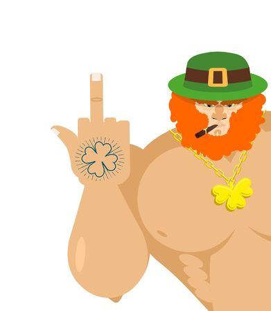 insult: bad leprechaun shows fuck. Old grandfather with cigar and Green Hat. Tattoo four listnyj clover. Big muscles Badass leprechaun