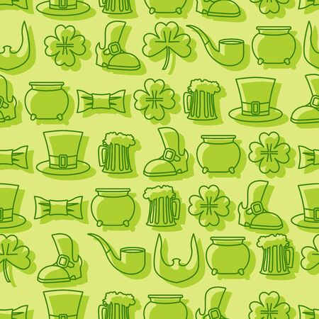 leprechauns hat: Patricks day seamless pattern. Background for Irish holiday. Accessories for leprechauns. Pot of gold and hat cylinder. Pipe and mug of beer. Beard and an old shoe. Linear icons St. Patricks day