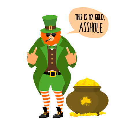 red beard: Bad leprechaun shows fuck. Bully with Red Beard. Angry leprechaun who gives not a pot of gold. Large pot with gold coin treasure.Nasty midget with smoking a pipe and sunglasses. This is my Gold, asshole. Illustration for  Irish holiday St. Patricks day. Illustration