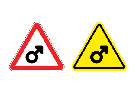 yellow attention: Warning sign mans attention. yellow danger man. male symbol on red triangle. Set of Road signs