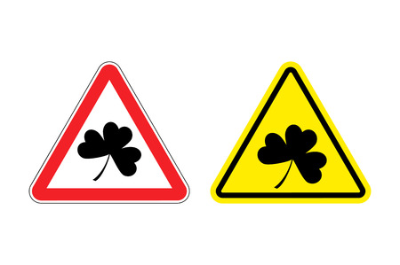 red clover: Warning sign clover. Hazard yellow sign Shamrock. Clover in  red triangle. Set of Road signs for St. Patricks day