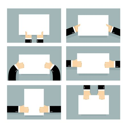 clench: Hand and clean sheet blank billboard set. Business man holding an empty form. Place for your text. man in suit keeps fingers white banner. Top view of human hands. Hand and blank set Illustration