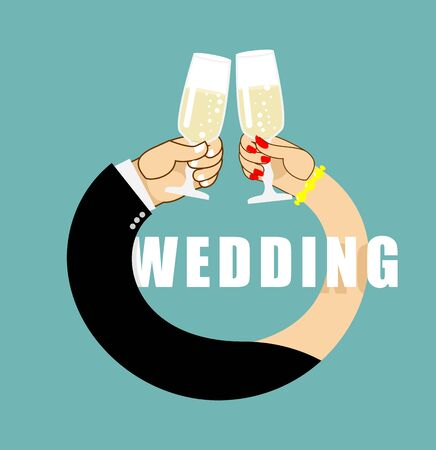 newlyweds: Wedding. Symbol of  ring from hands of  newlyweds. Bride and groom drink champagne. Glasses with white sparkling wine