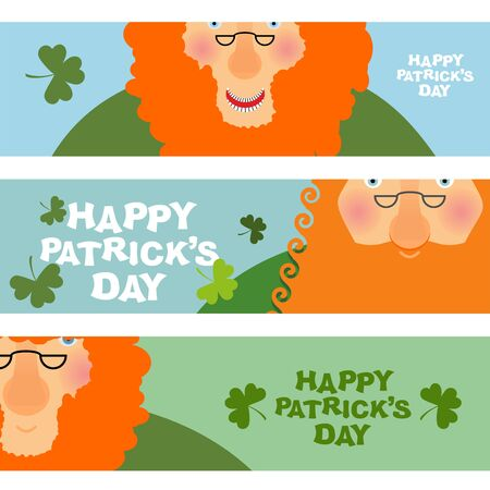 red beard: cheerful leprechaun. Set of cards, Web banners for your site. jolly old man with a Red Beard. Happy Patricks day. Patriotic holiday Ireland