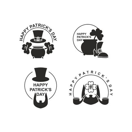 march 17: Happy St. Patricks day set of emblems. Pot with leprechaun gold. Clover and an old shoe. Beard and pipe. Hat cylinder. Irish March 17 holiday accessories Illustration