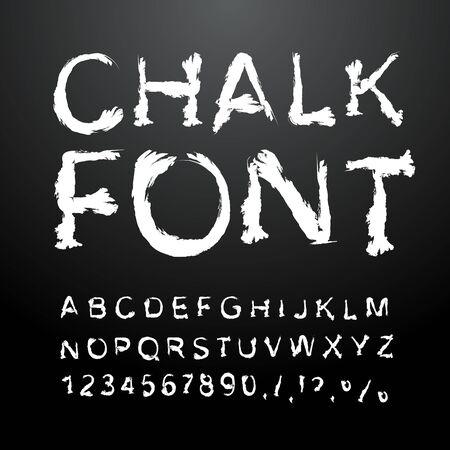 チョークのフォントです。白いチョークで書かれたアルファベット。チョークから氷の手紙。手書きのアルファベット。チョーク テクスチャ文字