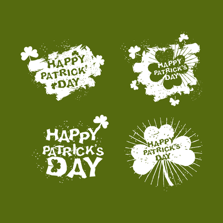 17 march: Patricks day Set logo. Clover and rays of grunge, Shamrock. Brush strokes. National holiday in Ireland. 17 March. Illustration