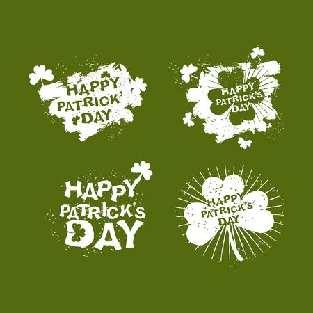 national holiday: Patricks day Set logo. Clover and rays of grunge, Shamrock. Brush strokes. National holiday in Ireland. 17 March. Illustration