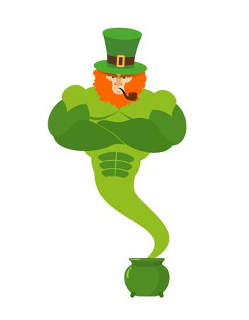 genio de la lampara: Leprechaun Genie. esp�ritu m�gico de maceta verde del d�a de San Patricio con oro. poderoso anciano ingenio Barba Roja y fumando una pipa. Magia que cumple deseos. Ilustraci�n para el d�a de fiesta irland�s 17 de de marzo de Vectores