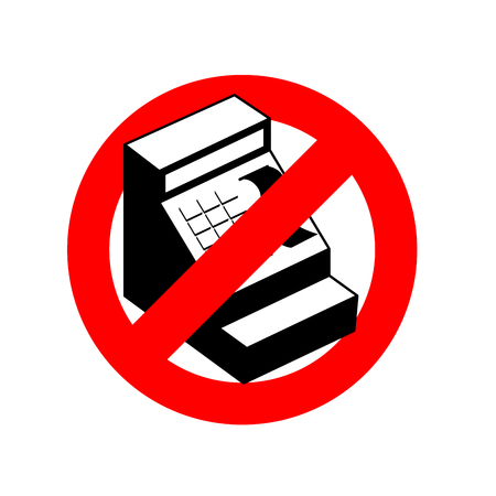Stop cashier. Banned from cash register. Frozen machine counting money in store, shop. Emblem against cash registers. Red forbidding character. Ban for recalculation of cash