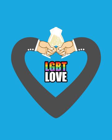 lesbienne: amour LGBT. Mens mains sous forme de coeur est le symbole de l'amour. amour Gay. Les hommes boivent du champagne dans des verres.