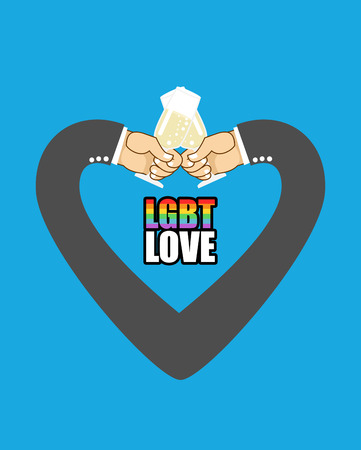 lesbian love: LGBT love. Mens hands form Heart is symbol of love. Gay love. Men drink champagne from glasses.