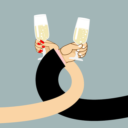 toasting wine: Man and woman drink wine. Mens hand and a glass of champagne. Female hand holding glass with white sparkling wine. Drinking brotherhood. Illustration of romantic for  first date. Mens hand and a glass of champagne. Female hand holding glass with white spa Illustration