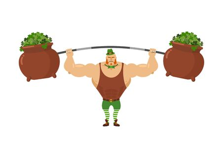 strongman: Leprechaun strongman. Powerful leprechaun athlete and rod. Pot with clover. Mythical dwarf  Bodybuilder with big muscles. Green Hat Topper and Green bow tie butterfly. Illustration for St. Patricks day. March 17 national holiday in Ireland