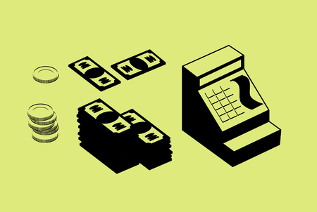 money pile: Cash register and money. Pile of cash and coins. Set financial icons. Illustration