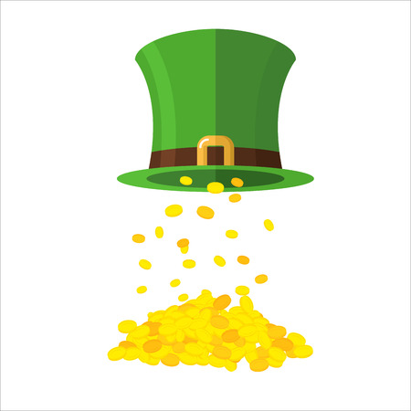 poured: Gold and leprechaun Hat Topper. Gold coins poured from caps. Gold Mountain, wealth. Illustration of the feast of St. Patrick in Ireland