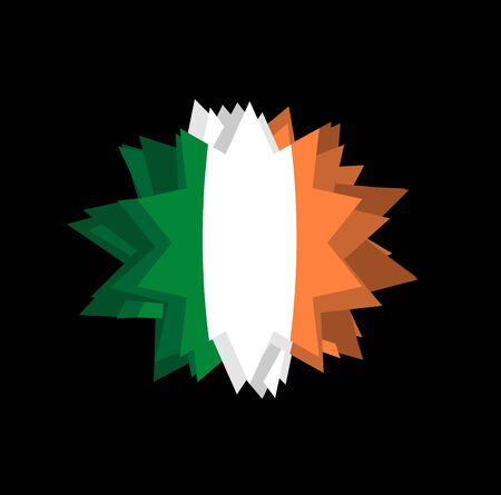 pointed to: flag of Ireland Pointed star. Abstract flag of Irish State. Barb on black background