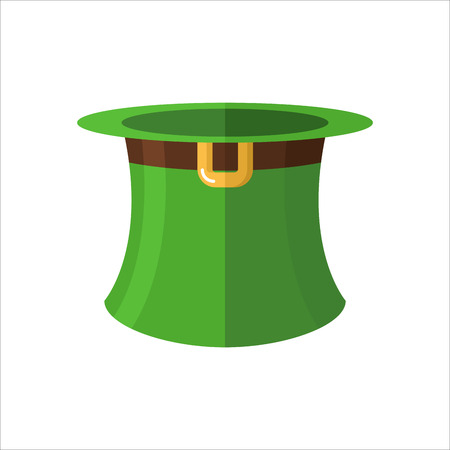 headpiece: Leprechaun hat on  white background. Green old hat cylinder. Fantastic character headpiece. Illustration of  feast of St. Patrick in Ireland