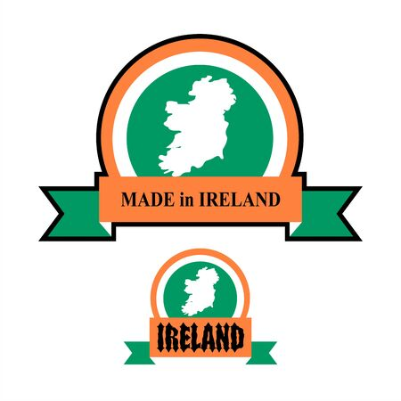 irish map: Made in Ireland. icon for product. Map of Ireland and Ribbon with colors of Irish flag. Label template for production of