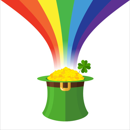 leprechaun hat: Leprechaun hat and Rainbow. Gold in Green Hat cylinder. Mythical treasures of evil dwarf. Illustration for feast of St. Patrick in Ireland