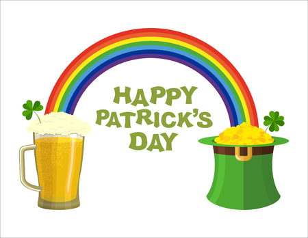 ale: Happy Patricks day. Beer mug and Rainbow. Green Hat Topper leprechaun. Leprechaun gold. Pile of gold coins in Green Hat dwarf. Fairyland Rainbow and pint of ALE with foam