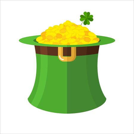 topper: Leprechaun hat and gold. Green Hat Topper and many gold coins. Fairy Treasure leprechauns little dwarf. Illustration for  feast of St. Patrick in Ireland