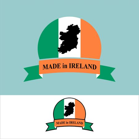 eire: Made in Ireland. icon for product. Map of Ireland and Ribbon with colors of Irish flag. Label template for production of