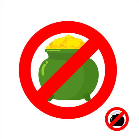 gold icon: Stop leprechaun gold. Forbidden flower pot with gold coins. Frozen leprechaun treasure. Emblem against mythical money. Red forbidding character. Ban for gold cash