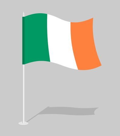 irish pride: Flag of Ireland. Official national character of Irish State. Traditional Irish developing flag Illustration