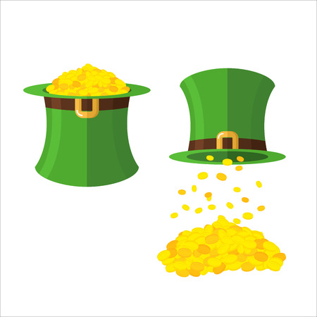 leprechaun hat: Hat and gold leprechaun set. Gold coins in hat top hat. Magical wealth poured from  Green dwarf hats. illustration for feast of St. Patrick in Ireland