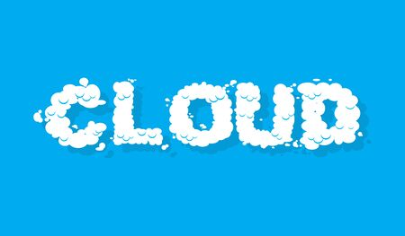 typesetter: Cloud. White cloud text. Blue sky and white cloud. Letters from cloud. Illustration
