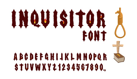 gothic letters: Inquisitor font. Ancient Gothic font. Font for Holy Inquisition. Medieval alphabet. Letters and numbers with  fire of fire. Accessories Inquisitor: Hangman, Bible and cross. Illustration