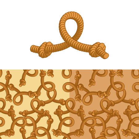 convoluted: Rope knot. Set pattern of rope. Thick rope texture. Rope thick rope Illustration