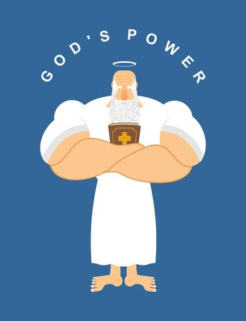 nimbus: God Powerful. Strong divine old man with Bible. Holy Bible holds gray-haired grandfather. Nimbus and grey beard. Sports pensioner. Divine power Illustration