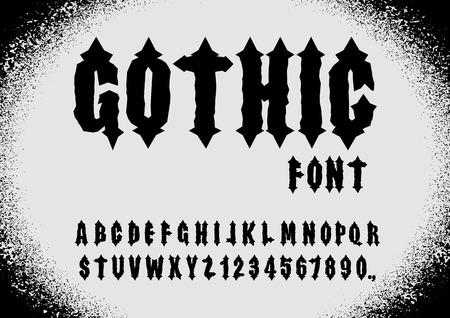 Gothic font. Ancient font. Gothic letters. Vintage alphabet. Letters and numbers retro alphabet Gothic