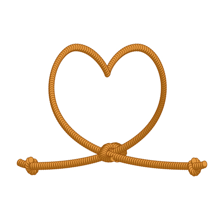 spiral cord: Heart tie rope. thick rope of love. Rope love. Symbol of eternal love-knot Illustration